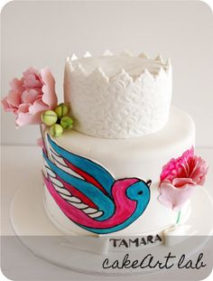 Swallow Cake from CakeArt Lab: Swallow Bird, Bird Cakes, Handfasting, Kid Table, Cake Table, Cake Art, Lab, Bridal Shower, Yummy Food