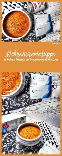 Eine leckere Möhrencremesuppe wärmt nicht nur von innen, sondern ist dank des Beta-Carotin auch gut für Deine Augen! Jetzt nachkochen! #vegan #veganesuppe #vegankochen #veganerezepte #vegane #rezepte #rezept #rezeptevegan #karotten #suppenrezept #suppen #kontaktlinsen #curry #currysuppe #madrascurry