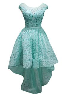 Ikerenwedding Womens Lace Applique Hilo Short Bridemaid Party Evening Dresses Blue US16 *** Details can be found by clicking on the image.