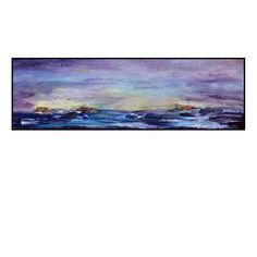 blue and purple abstract art | Abstract Ocean painting purple blue 10 x 24 Acrylic by HelenKilsby