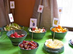 Very Hungry Caterpillar First Birthday Party: Cute food and bookmark craft!