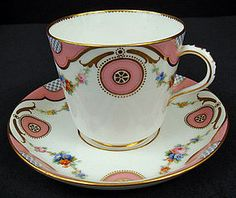 Antique Minton Teacup & Saucer, Hand Decorated with Brightly Colored Garlands of Flowers, Pink Ornaments & Gold Accents, c. 1857