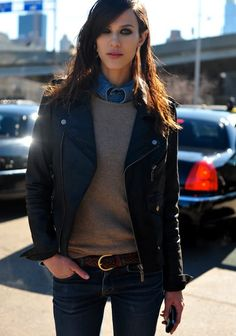 love the denim shirt under a gray sweater! I should do this before it gets too warm!