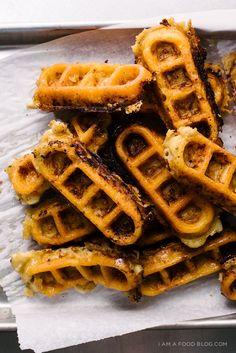 mac and cheese waffle sticks recipe. mac and cheese you can hold! Waffle Sticks, Pizza Sticks, Risotto, Cheese Waffles, Waffle Recipes, Macaron, Mac And Cheese, A Food, Veggie Food