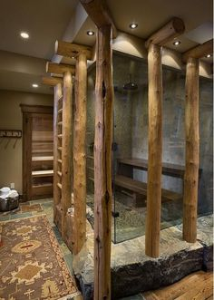 Comment: Here's a shower for your future cabin! I think the lights could be a bit more rough...they're too 'dandy' to go with the log look.