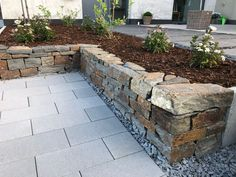 Garden ▪ Terrace ▪ Exterior ▪ Wall ▪ Drywall ▪ Dressing ▪ Designing ▪ Landscaping ▪ Natural Stone ▪ Privacy … - All About Front House Landscaping, Landscaping With Rocks, Garden Landscaping, Landscape Edging Stone, Yard Edging, Front Yard Design, Landscape Artwork, Outdoor Plants, Curb Appeal
