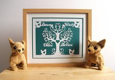 Personalized Family Tree Papercut / Paper Cut  by ChibiChiDesigns