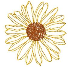 Small Sunflower Embroidery Design