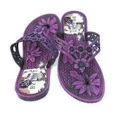 Dark Pink Flip Flops with Flower Detail $12.00