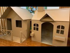 Cardboard Box Playhouse Diy, Cardboard Houses For Kids, Cardboard Box Crafts, Cardboard Playhouse, Diy Karton, House Template, Diy Home Crafts, Kids House, Play Houses