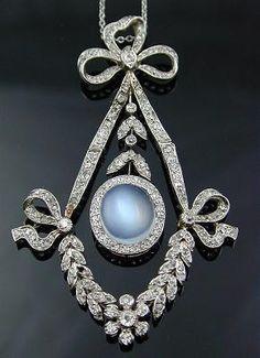 Platinum Diamond & Moonstone Pendant Necklace. Edwardian style.