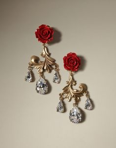 Rose clip and Swarovski crystal on earrings