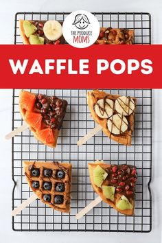 Waffle Pops are a delicious breakfast or indulgent dessert. Swap out the cake for a fun waffle pop surprise for your next birthday. Grab this recipe and all the fresh produce topping ideas today! Banana Recipes, Fruit Recipes, Brunch Recipes, Waffle Recipes, Party Recipes, Dessert Recipes, Mother's Day Brunch Menu, Brunch Drinks, Healthy Desserts