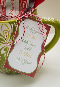 Printable for neighbors or teachers. Christmas gifts. Warm wishes.