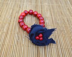 Items similar to Semi-Precious Red Coral Stone Stretch Beaded Bracelet With Navy Fabric Flower, Prayer Bead Style Bracelet on Etsy Handmade Bracelets, Beaded Bracelets, Coral Stone, Navy Fabric, Prayer Beads, Red Coral, Fashion Bracelets, Fabric Flowers, Etsy