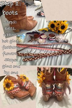 DIY boots DIY shoes Flower Old belts DIY Ribbon Easy Cute affordable