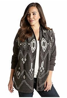 Lucky Brand Plus Size Embroidered Terry Jacket