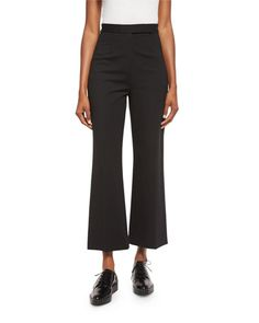 Creased Cropped Trousers, Black