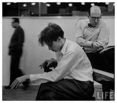 I believe this shot was taken in a Columbia Record recording studio in New York City for Life Magazine.  Although this photo wasn't used in the final spread, you can check out page 105 in the March 12, 1956 issue of Life Magazine to see the story.