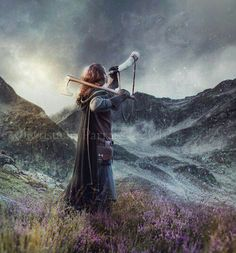 cloak, cape, horn, axe, meadow, calling, warrior woman, wanderer, calling to home, mist in the hills, brown hair, young adult or adult