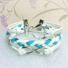 AnchorLove BraceletInfinity Bracelet White Wax Cords by Punkpark, $6.99
