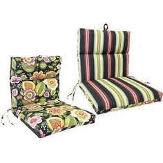 Jordan Manufacturing Reversible Outdoor French Edge Chair Cushion, Multiple Colors