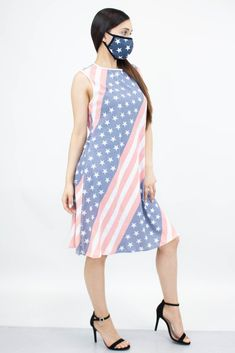 American Flag Print Sleeveless Dress and Matching Face Mask   My Luxury Intimates Current Fashion Trends, Dress Clothes For Women, Plus Size Bikini, American Flag, Dress Outfits, Summer Dresses, Luxury, Face, Casual