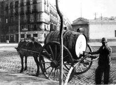 1888 - Regador municipal, se regaban los árboles de Barcelona Old Pictures, Old Photos, Vintage Photos, Barcelona Catalonia, Like Image, Valencia, The Past, Tumblr, Horse