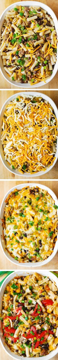 Mexican Mac and Cheese Casserole with Black Beans and Sausage. Quick and easy-to-make pasta bake dinner, great for leftovers! (Mexican, Tex-Mex, Southern recipe). Gluten free recipe - use brown-rice gluten free penne pasta. #BHG #sponsored