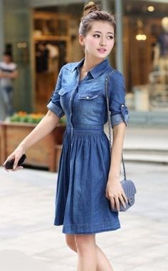 Chic Women's 1/2 Sleeve Belted Bleach Wash Single Breasted Denim ...