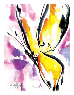 """Items similar to Yellow Butterfly Watercolor Painting -I nsect art archival print from original painting """"Butterfly Song by Kathy Morton Stanion EBSQ on Etsy Butterfly Songs, Butterfly Painting, Butterfly Watercolor, Butterfly Art, Watercolor Animals, Watercolour Painting, Butterfly Tattoos, Butterflies, Original Paintings"""