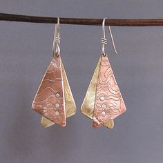 Mixed Metals Earrings Etched bronze copper and by Duffydesigns on Etsy