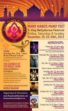 Santa Fe, NM A 3-Day Bellydance Festival celebrating Unity between all dancers everywhere. There is 3 days of workshops, performances, & many vendors which we call a World Bazaar.   Workshops will be … Click flyer for more >>