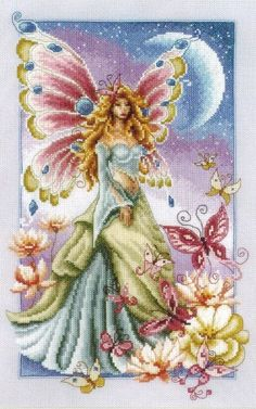 Vervaco Butterfly Fairy - Cross Stitch Kit. Complete kit includes 14 Ct. Lilac Aida, thread, needle, chart and instructions. Finished size: 9.2 x 14.4 (23x36cm)