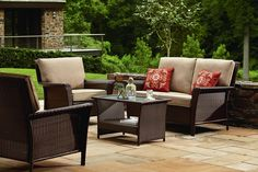 You will want to spend all your free time relaxing on the<strong>Parkside 4 Piece Deep Seating Set</strong>.<br /><br /><strong>Parkside 4 Piece Deep Seating Set</strong>includes custom designed cushions fabricated with the finest all weather fabric. All our products are hand crafted by skilled weavers, suited for both indoor and outdoor use. Generously proportioned and richly detailed, our classic collection captures the traditional look and feel of fine wicker while standing up to the…