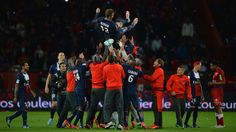 ~ David Beckham lifted by his PSG teammates after his last professional football match ~