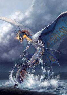 Mythical Creatures Art, Mythological Creatures, Magical Creatures, Fantasy Wesen, Fantasy Beasts, Cool Dragons, Water Dragon, Blue Dragon, Sea Dragon