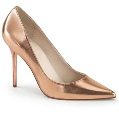Stiletto Pumps CLASSIQUE-20 - Rose Gold Metallic | Klassische Stiletto Pumps in spitzer Form der Marke Pleaser.   Metallic High Heels für den besonderen Look. #schuhe #damen #shoes Stilettos, Stiletto Pumps, Pointed Toe Pumps, Rose Gold Metallic, Metallic High Heels, Pump Shoes, Shoes Heels, Crazy Heels, Classic Pumps