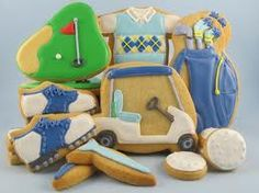 Golf cookies for Father's Day. I added the golf cart, switched out a polo shirt for a shirt and argyle sweater, added pompom covers for the clubs and added some golf tees. Oh, and I changed the hole cookie. Golf Cookies, Fish Cookies, Mother's Day Cookies, Summer Cookies, Cut Out Cookies, Cupcake Cookies, Cupcakes, Fancy Cookies, Iced Cookies