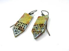 Tie Yellow Earrings - Rustic Artisan Ceramic Earrings No. 85 - pinned by pin4etsy.com