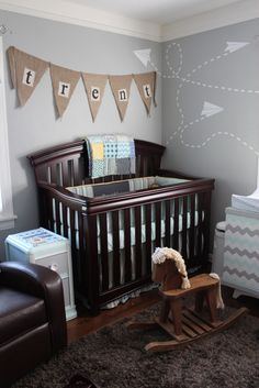 adorable.  Love the blue, gray and white as well as the paper airplane theme