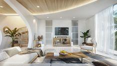 Vastu Villa on Behance Wooden Accent Wall, Villa Design, Staircase Design, Poufs, Decoration, Interior Design, House Styles, Behance, Home Decor