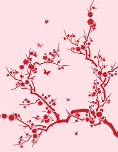 Japanese blossom stencil Japanese Blossom, Japanese Flowers, Japanese Art, Tree Stencil, Stencil Painting On Walls, Stencil Patterns, Tangle Patterns, Stencil Designs, Blossom Flower