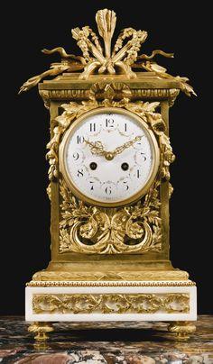 FRANÇOIS LINKE 1855 - 1946 A LOUIS XVI STYLE GILT-BRONZE MOUNTED CARRARA MARBLE MANTLE CLOCK, PARIS, LATE 19TH/EARLY 20 TH CENTURY