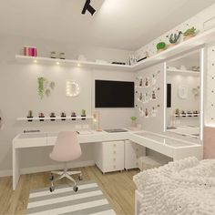 Teen Bedroom Designs, Room Design Bedroom, Bedroom Decor For Teen Girls, Home Room Design, Small Room Bedroom, Bedroom Ideas, Pink Teen Bedrooms, Teen Bedroom Desk, Light Pink Bedrooms