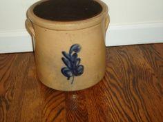 1 1/2 Gallon Crock Cobalt Flower Leaf Antique by TheCrockery1