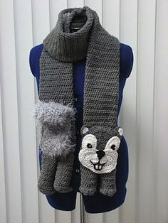 Squirrel Scarf - $4.99 by Donna Collinsworth of Donna's Crochet Designs | Woodland Creatures - Animal Crochet Pattern Round Up - Rebeckah's Treasures