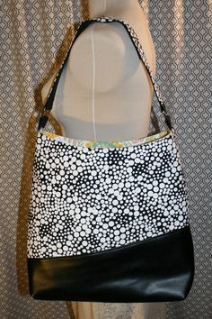 Black and White Polka Dot Fabric Tote Bag, Commuter Bag, Fabric Work Tote Bag - Chelsea Bag  So you need a bigger bag for work or school or
