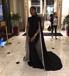Black White Long Arabic Mermaid Evening Dresses With Cape Formal Party Gowns Black Girl Prom Dresses, African Prom Dresses, Black Evening Dresses, Mermaid Evening Dresses, Sexy Dresses, Dress Black, Black And White Ball Dresses, Dresses With Capes, Long Dresses
