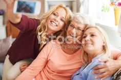 Blonde girl taking selfie with mom and grandma Royalty Free Stock Photo With coupon codes and promotional codes.